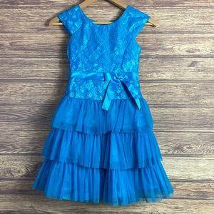 Jona Michelle blue frilly sparkle party dress